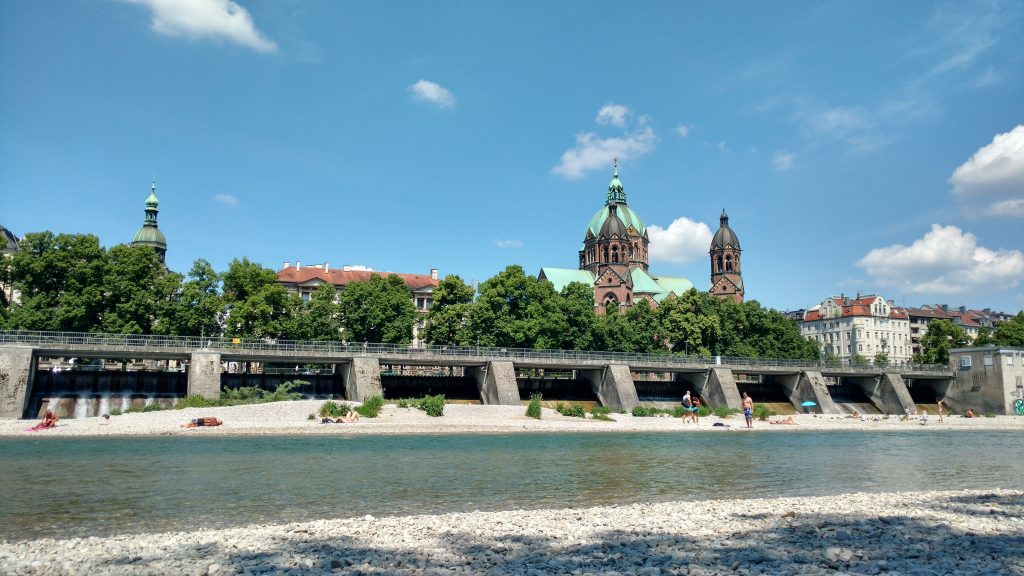Swimming in the Isar Summer in Munich
