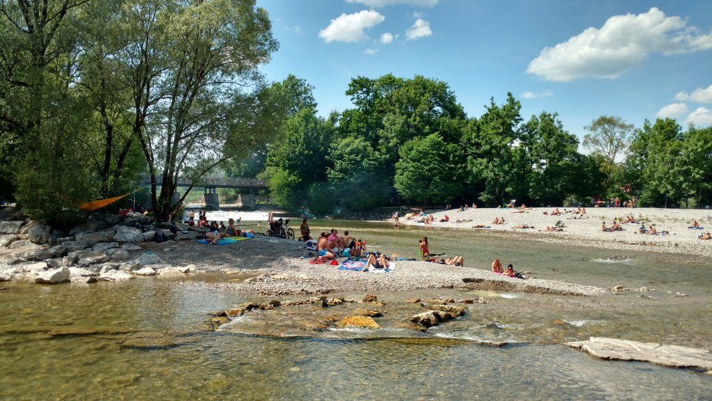 Swimming in the Isar, Summer in Munich