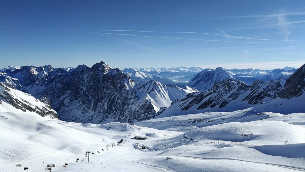 The barren, otherworldly Zugspitzplatt ski area on a sunny day. A huge benefit of moving abroad for me.